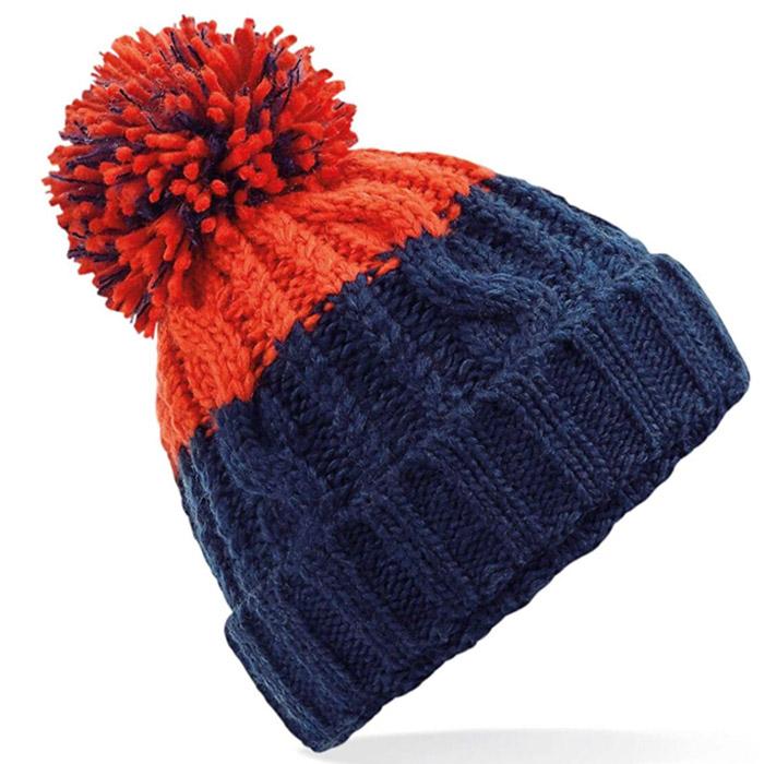 orange and navy blue beanie
