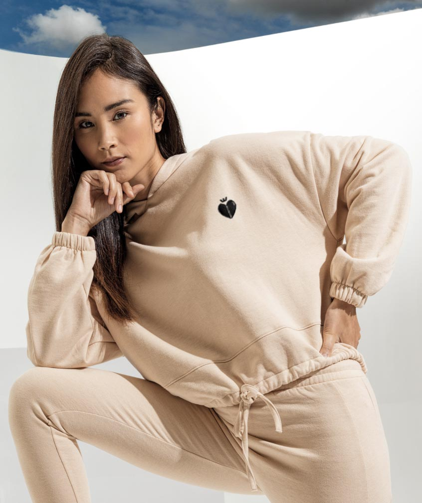 Emily Hoody Cropped Nude